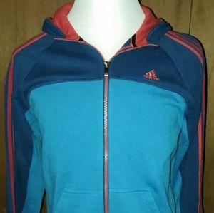 Adidas Full Zip Hoodie Medium Men's Blue Red Orang
